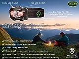 Stirnlampe von Alien Scout - High-End, Profi, Stoß- und Wetterfeste LED Kopflampe zum Laufen, Camping, Radfahren, Angeln, Gassi gehen, Lesen, Arbeiten, Handwerk oder Naturabenteuer - Einstellbar, leicht und ultrahell - Weiß/Rot/SOS-Leuchtmodi - inklusive langlebiger Duracell Batterien und Verstaubox -
