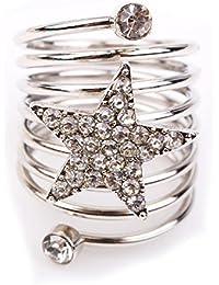Bold N Elegant Silver Plated Multilayer Star Ring Charming Finger Ring Pentagram Female Ring