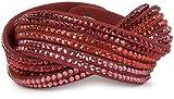 styleBREAKER weiches Strass Armband, eleganter Armschmuck mit Strassteinen, Wickelarmband, 6x1-Reihig, Damen 05040005, Farbe:Dunkelrot/Rot-Orange-Rose