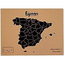 Miss Wood Woody Map XL - Mapa del mundo de corcho con diseño España , color negro