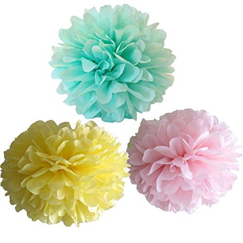 6Mixed Rosa Gelb Mint Grün Tissue-Papier Flower Pom Poms Hochzeit Geburtstag Jahrestag Party Weihnachten Mädchen Raum Dekoration