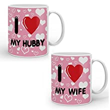 indibni I Love My Wife Hubby Best Quality Coffee Mug (330ml,Pink,Ceramic) - for Couples Husband Wife Spouse on Birthday Anniversary Valentines Day