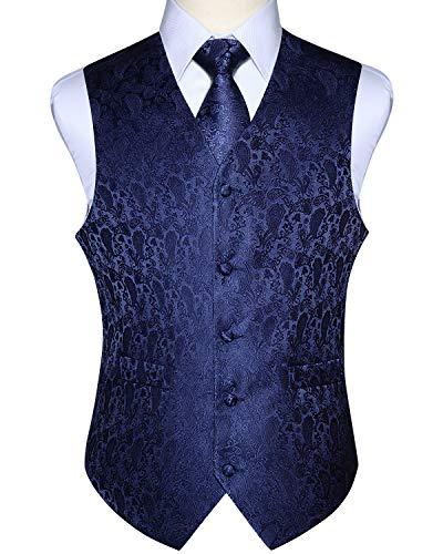 ENLISION Herren Paisley Weste Krawatte Einstecktuch Taschentuch Jacquard Weste Anzug Set