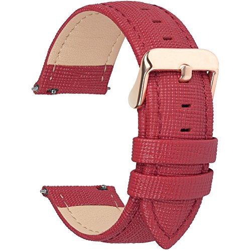Fullmosa Uhrenarmband, Cross Serie Echtes Lederarmband Ersatzband Smart Watch Armband mit Edelstahl Metall Schließe 14mm Rot