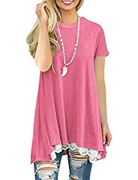 c8bae5c240d92 NICIAS Womens Lace Casual Crew Neck Tunic Tops Loose Blouse T Shirt