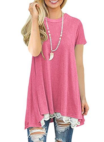 NICIAS Damen Sommer Kurzarm T-Shirt Pullover Rundhals Spitze Tunika Top Lässige Oberteil Bluse Shirt Rosa ()