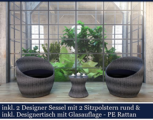 Polyrattan Gartenmöbel Set Poly Rattan Garten Möbel Gartengarnitur Sitzgruppe (Grau)