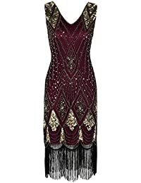 PrettyGuide Women 1920s 1920s Gatsby Cocktail Sequin Art Deco Flapper Dress
