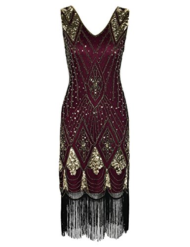 PrettyGuide Damen 1920er Gatsby Art Deco Pailletten Cocktail Charleston Kleid XL Gold mit Burgunder
