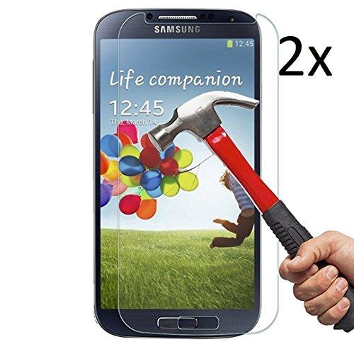 Cäsar-Glas [2 Stück] Schutzglas für Samsung Galaxy S4, Anti-Kratzen, Anti-Öl, Anti-Bläschen, 9H Echt Glas Panzerfolie Schutzfolie