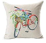 Watercolor Pflanzen Blumen Fahrrad Baumwolle Leinen Überwurf Kissen Cover Kissen Fall Sofa Büro Deko 45,7x 45,7cm