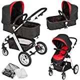 TecTake 2in1 Pushchair combi stroller aluminium pram buggy jogger travel incl. mosquito net and rain cover red-black