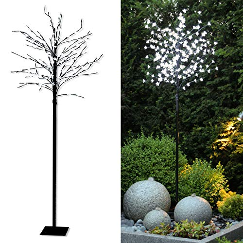 Tronje albero a led fiori di ciliegio 180cm - albero luminoso 200 led luce bianca calda - decorazione interni esterni
