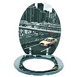 MSV 140572 WC-Sitz, Motiv New York, MDF/Edelstahl, 42,5x36,5x1,6cm