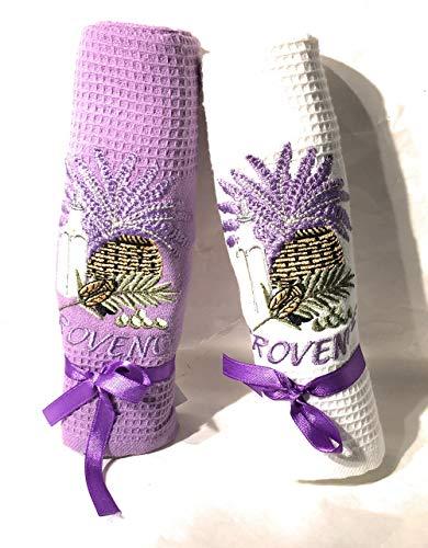 Pec as de coeur - Set mit 2 Geschirrtüchern mit Wabenmuster Provence - Motiv Lavendel, Zigale, Olive - Farbe: Violett & Weiß - 100% Baumwolle - 40 x 60 cm - Lavendel Geschirrtücher