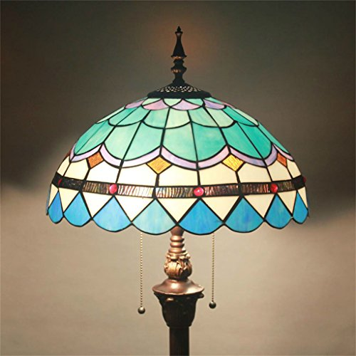Cheapest Tiffany 16-Inch Mediterranean European Pastoral Style Elegant Luxury Creative Handmade Stained Glass Tiffany Floor Lamp – Blue on Amazon