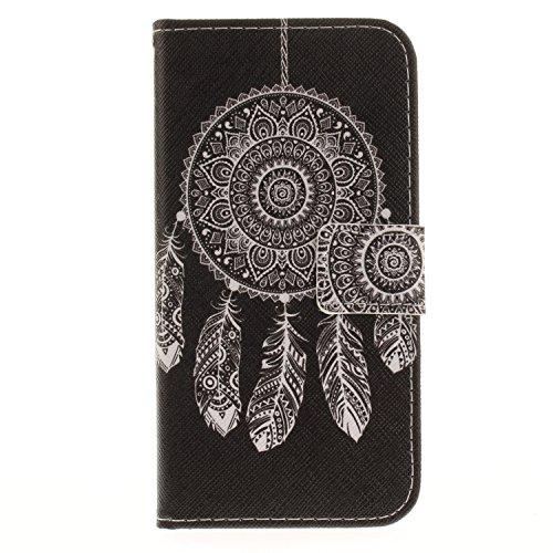 iPhone X Hülle,Vandot 3D Magnetverschluss Schutzhülle Weich PU Leder Flip Tasche Handyhülle Case mit Integrierten Kartensteckplätzen und Ständer für iPhone X (iPhone 10 5,8 Zoll) Innen TPU Silikon Cov Schwarz Traumfänger