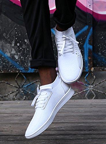 Soulsfeng Trainers Scarpe da Ginnastica Uomo Donna Stringate Bianche Scarpe da Skateboard Unisex Basse Tessuto Senza Tacco Bianco