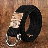 Cinturón de la mujer de lona de doble anillo hebilla cinturón de los hombres cinturón de ocio estudiantil Negro 105cm