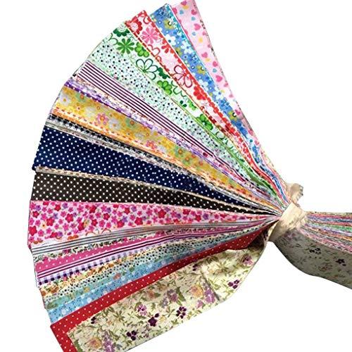 Luckiests 30pcs Blumen-Punkt-Streifen-Baumwolltuch DIY Nähen Patchwork Quilting Puppe Tuch Handgefertigte Hand Stoff
