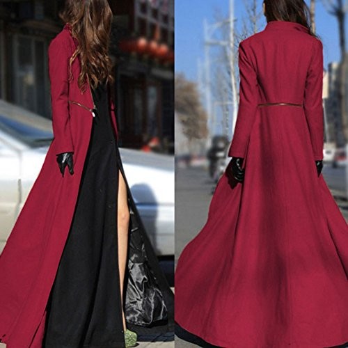EMVANV Damen Fashion Frühling Herbst Winter Extra-Langer Mantel Wolle. Casual Mantel, rot, S