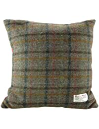 5d323298adb Harris Tweed Square Cushion with Velvet Back - Brown Check Colour - Made in  Scotland by…