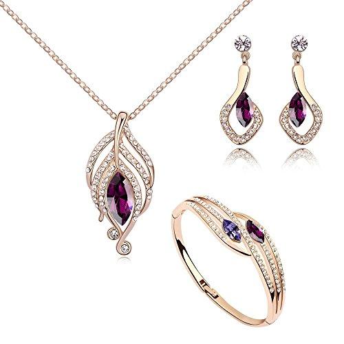 Crystals from Swarovski Simulierter Amethyst Schmuck-Set Halskette Anhänger 45 cm Ohrhänger Ohrringe Bangle 18 kt Rose Vergoldet