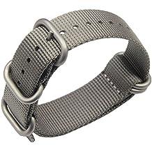 24mm gris de lujo de nylon duradero de la NATO reloj estilo correas bandas militares reemplazos para los hombres