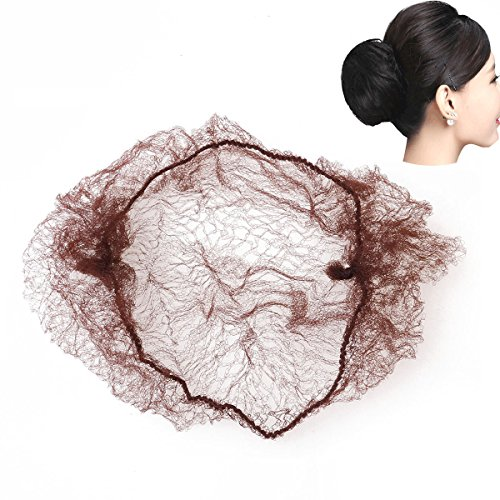 Pixnor 50pcs cheveux filets bord élastique Invisible maille (café)