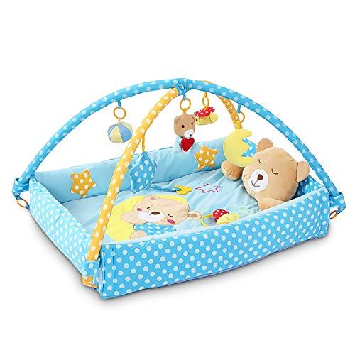 Sonarin cute bear tappetini gioco bébés baby play mat & activity gym con giocattoli di attività, cuscino per orsi, letto piccolo,colorato e interattivo,ideale regalo(blu)