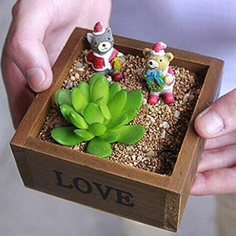 Primi Amour Motif petite rétro Boîte de rangement en bois Jardinière Pot de fleurs sans couvercle