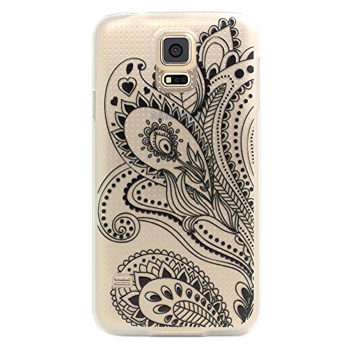 JIAXIUFEN Custodia Cover Case Ultra Slim Hard Plastica Custodia Protettiva Case Cover per Samsung Galaxy S5 Mini - Henna White Floral Paisley Flower Mandala Black