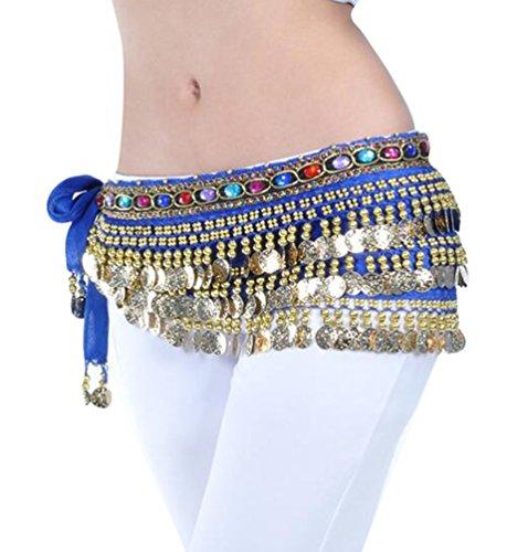YuanDian Damen Farbe Diamant Bauchtanz Taillenkette Hüfttuch Gürtel Bauch Tanzen Schal Rock Mit Münzen Blau Saphir (Bauch-tanzen-kleidung)