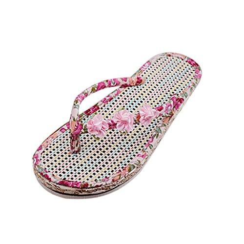 Ouneed® Ete Femmes Flip Flops Talon T-Strap Pantoufles Plage Rose