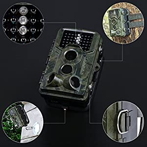 iado Trail Camera, Wildlife Camera Night Vision Hunting Cameras 1080P HD/120°Wide Angle Outdoor Infrared, 20M Detection Distance/16MP/0.2s Trigger Speed Game Camera