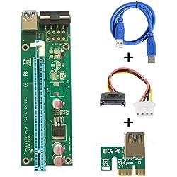 PCI-E Express 1 x vers 16 x Mini adaptateur de câble d'extension de carte graphique dédiée, adaptateur pour carte Riser extensible avec câble d'alimentation USB 3,0 SATA 15 broches