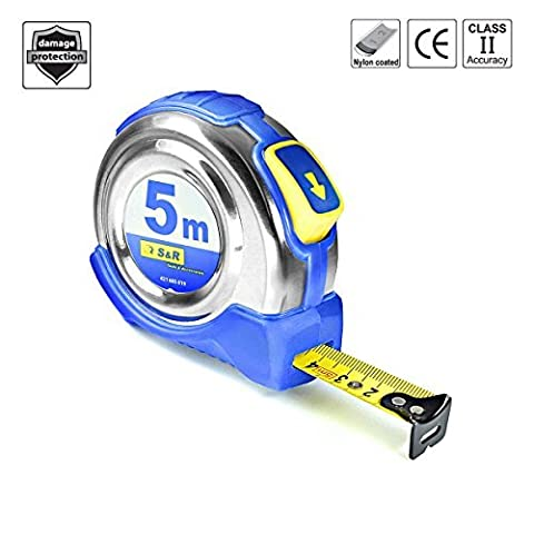 S&R tape measure 5.0 m x 19 mm, conveyor belt with compact stainless steel housing with belt clip, nylon polymer coated tape, Autolock, FERRO series,