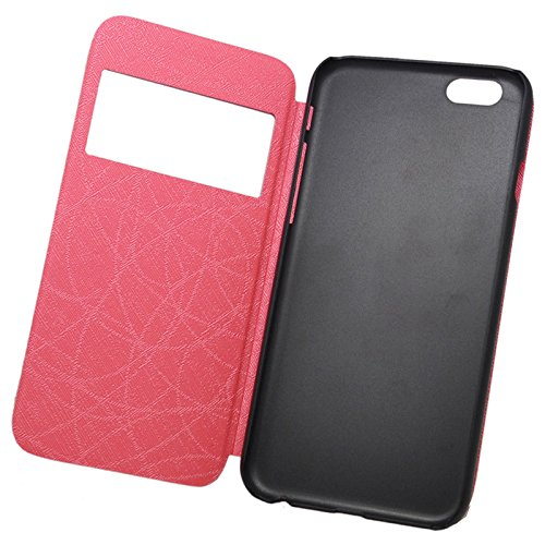 "wortek Flip Case Apple iPhone 6 (4,7"") Etui mit Sichtfenster & Standfunktion Book Style Pink Pink"