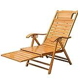Tragbare entspannende Bambus Sun Liegestühle Stuhl mit Armlehne und skalierbare Massage Fußstütze Verstellbare Recliners Erwachsenen Klapp Mittagspause Schaukelstuhl Sommer Siesta Bett