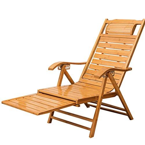 Tragbare entspannende Bambus Sun Liegestühle Stuhl mit Armlehne und skalierbare Massage Fußstütze Verstellbare Recliners Erwachsenen Klapp Mittagspause Schaukelstuhl Sommer Siesta Bett (Entspannende Massage-stuhl)
