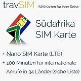 SIM Karte für Südafrika - Nano SIM mit 100 Minuten für internationale Anrufe in 34 Länder- süd-afrikanische prepaid SIM Karte