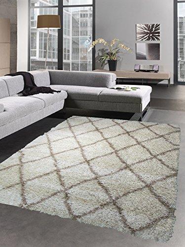 Carpetia Shaggy Teppich Wohnzimmerteppich Hochflor Langflor Rauten Creme beige Größe 160x230 cm