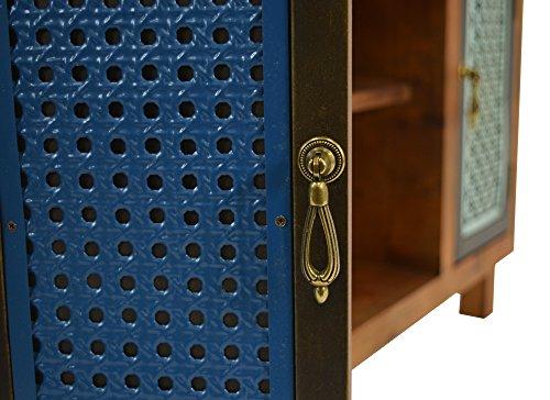 ts-ideen TV-Bank Lowboard HiFi-Schrank Vintage Antik Shabby Design Used Style Massivholz braun zwei Türen mit buntem Muster - 7