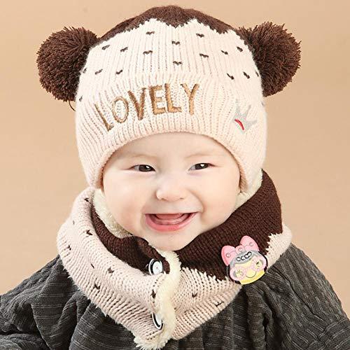 Jannyshop Children's Baby Knitted Hat Scarf Set Plus Velvet Thickening Love for Autumn Winter Keep Warming(3-36 Months)