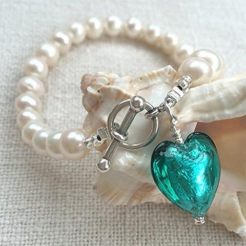 Diana Ingram teal Murano glass small heart (13mm) charm on natural freshwater round white pearl bracelet. [Jade,