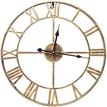 SEJU Large Metal Roman Numeral Wall Clock   Silent Non Ticking Decorative Wall  Clock For Cafe Loft Hotel Bar Office Living Room Bedroom Kitchen   Golden U0027  ...