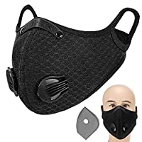 Decdeal Adults Mouth Mask with Double Valves Active Carbon Filter Adjustable Safety Mask Reusable Breathing Valve Mask for Running Cycling Camping Traveling