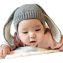 Gorros Bebé,Xinan Niño Niña Invierno Sombrero Orejas de Conejo (Gris)
