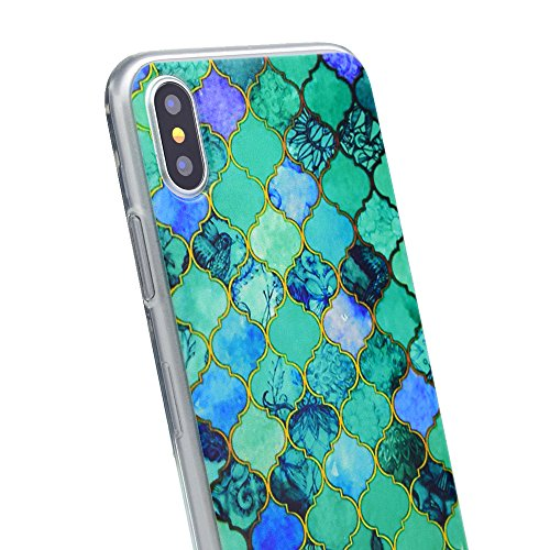 inShang iPhone X 5.8inch custodia cover del cellulare, Anti Slip, ultra sottile e leggero, custodia morbido realizzata in materiale del TPU, frosted shell , conveniente cell phone case per iPhone X 5. Blue rhombus