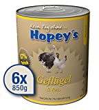 Hopey's Nassfutter für Hunde mit Geflügel und Reis, Hundefutter ohne Weizen 6 x 850g mit hohem Fleischanteil 87%